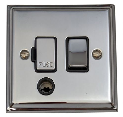 G&H DC356 Deco Plate Polished Chrome 1 Gang Fused Spur 13A Switched & Flex Outlet